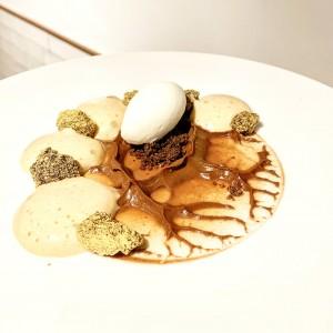 textures de xocolata a la Pedra i Torró d'Agramunt amb gelat de maria lluïsa